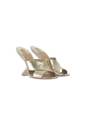 SALVATORE FERRAGAMO - GOLD F-WEDGE SANDALS
