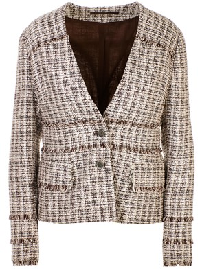 ELEVENTY - WHITE AND BROWN CHANEL JACKET