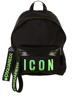 DSQUARED2 - BLACK AND GREEN ICON BACKPACK