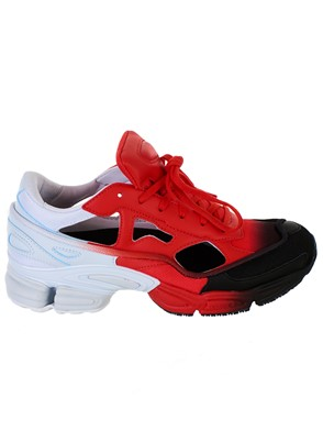 ADIDAS BY RAF SIMONS - RED AND WHITE REPLICANT OZWEEGO SNEAKERS