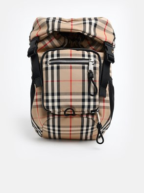 BURBERRY - LEO CHECK BACKPACK