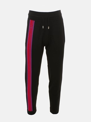 GCDS - BLACK PANTS WITH SIDE BAND