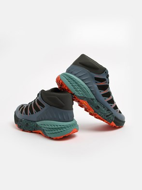 HOKA ONE ONE - GREEN AND GREY SPEEDGOAT SNEAKERS