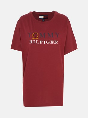 HILFIGER COLLECTION - T-SHIRT BOYFRIEND BORDEAUX