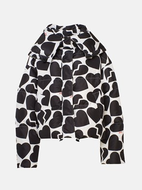 MSGM - BLACK AND WHITE HEART DOWN JACKET