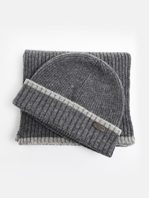 BARBOUR - GREY BEANIE AND SCARF