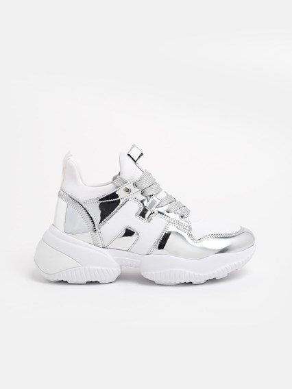hogan SILVER AND WHITE INTERACTION SNEAKERS available on www ...