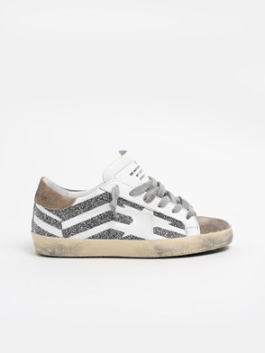 GOLDEN GOOSE DELUXE BRAND - WHITE AND GREY SUPERSTAR SNEAKERS