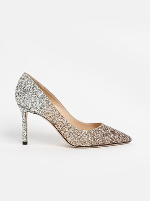 JIMMY CHOO - DECOLLETE ROMY85 GLIT.ARG/ORO