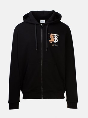 BURBERRY - FELPA STOCKLEY ZIP LOGO NERA