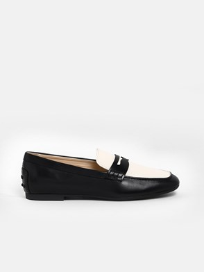 TOD'S - BLACK AND WHITE LOAFERS
