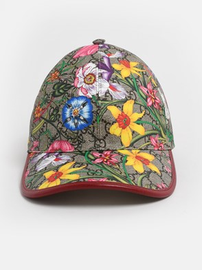 GUCCI - RED GG SUPREME FLORA HAT