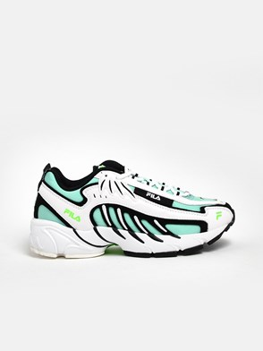 MSGM - WHITE AND GREEN FILA SNEAKERS
