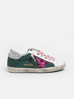 GOLDEN GOOSE DELUXE BRAND - GREEN AND WHITE SNEAKERS