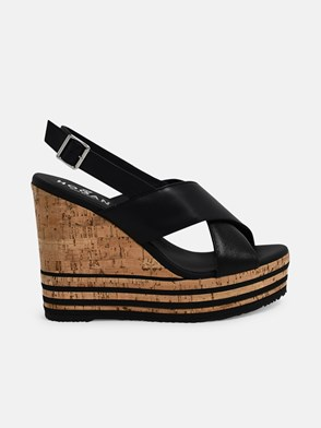 HOGAN - BLACK WEDGE H361 SANDALS