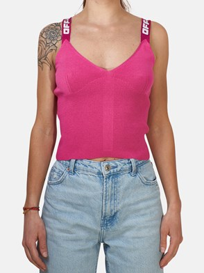 OFF WHITE - FUCHSIA KNIT INDUSTRIAL TOP