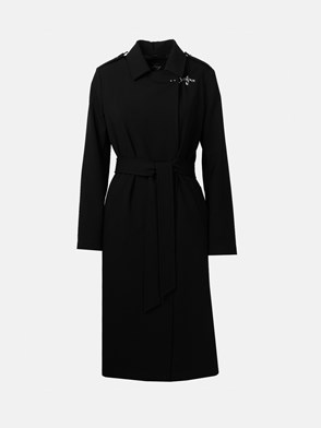 FAY - BLACK FLUID DOUBLE-BREASTED TRENCH COAT