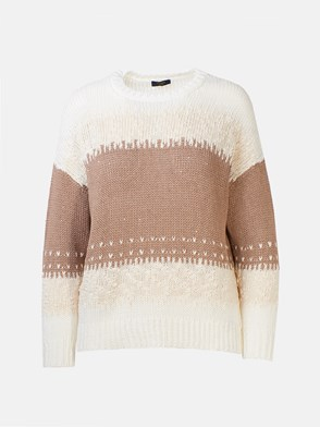 Peserico - BROWN AND BEIGE SWEATER
