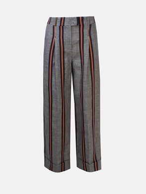 Peserico - MULTICOLOR STRIPED AND CHECK PANTS