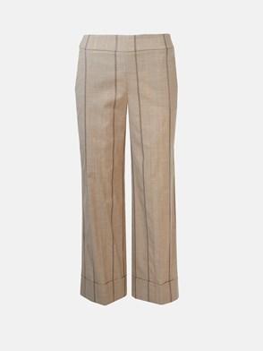 PESERICO - BEIGE STRIPED PANTS