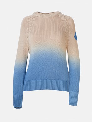 MONCLER - LIGHT BLUE AND BEIGE BICOLOR SWEATER