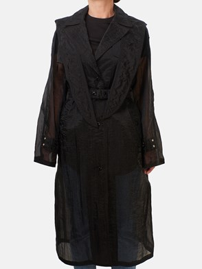 MONCLER - BLACK TRENCH COAT WITH PEARLS