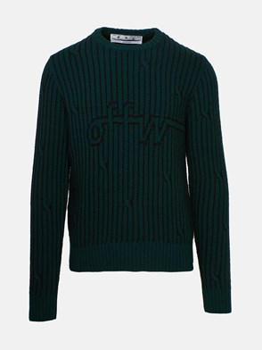 OFF WHITE - BLACK AND GREEN STRIPED CABLE SWEATER