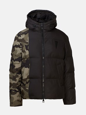 NEIL BARRETT - BLACK AND CAMOUFLAGE DOWN JACKET