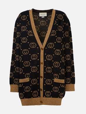 GUCCI - BLACK CARDIGAN WITH GOLD GG