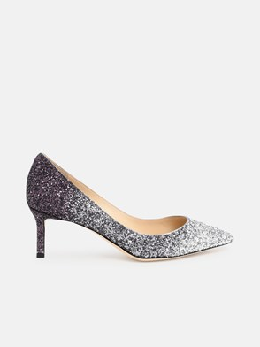 JIMMY CHOO - SILVER AND PURPLE ROMY 60 PUMPS