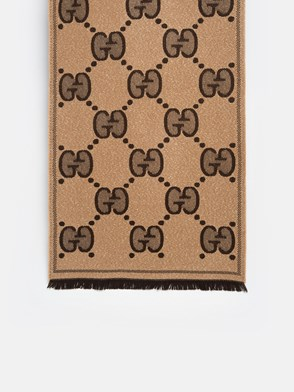 GUCCI - BROWN AND BEIGE LADY NEST LUX SCARF
