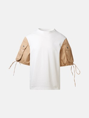 TELFAR - WHITE AND BEIGE T-SHIRT