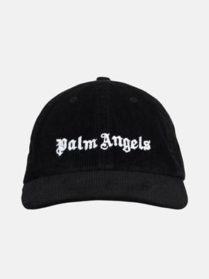 PALM ANGELS - CAPPELLINO VELLUTO LOGO NERO
