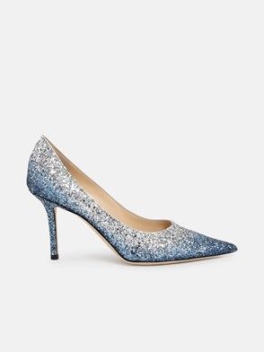 JIMMY CHOO - DECOLLETE LOVE 85 BLU/ARGENTO