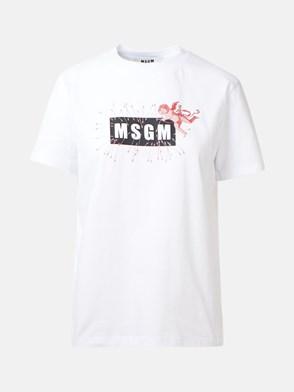 MSGM - T-SHIRT LOGO STAMPA BIANCA