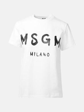 MSGM - T-SHIRT MAXI LOGO BIANCA