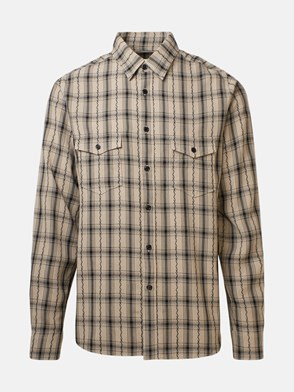SAINT LAURENT - CAMICIA OVERSIZE CHECK BEIGE