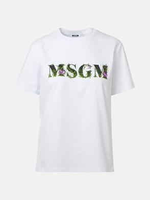 MSGM - T-SHIRT LOGO MULTICOLOR BIANCA