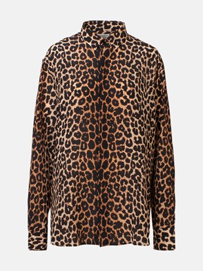 SAINT LAURENT - CAMICIA SETA LEOPARDATA