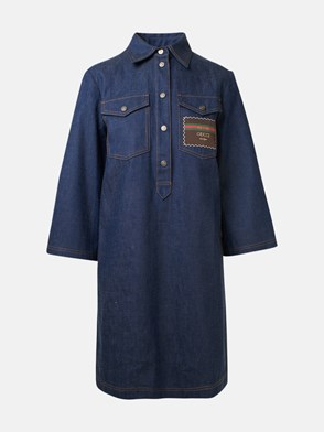 GUCCI - Blue dress\nCotton dress\nTwo front pockets\nReplacement buttons