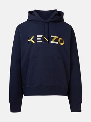 KENZO - FELPA CAPPUCCIO LOGO BLU
