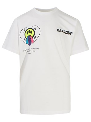 BARROW - T-SHIRT STAMPA+SCRITTA BIANCA