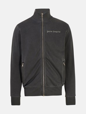PALM ANGELS - FELPA ZIP GARMENT DYED NERA