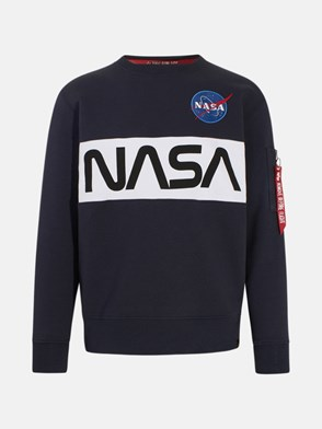 ALPHA INDUSTRIES - FELPA NASA INLAY BLU