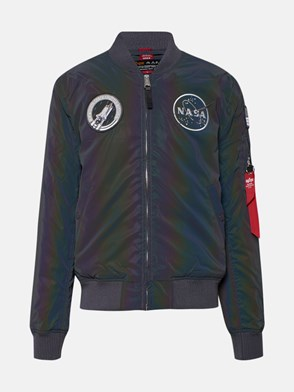 ALPHA INDUSTRIES - BLACK NASA REFLECTIVE BOMBER JACKET