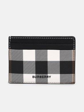 BURBERRY - BLACK KIER CORNER CHECK CARD HOLDER