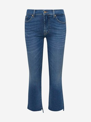 7 FOR ALL MANKIND - LIGHT BLUE ANKLE BOOT SLIM JEANS