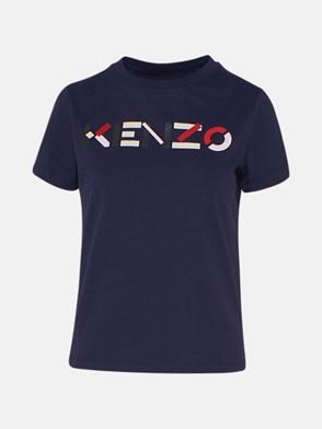 KENZO - T-SHIRT M/C LOGO MULTICOL BLU