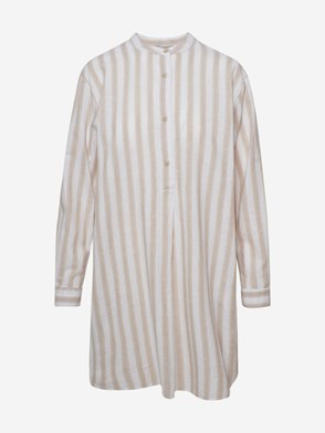 WOOLRICH JOHN RICH & BROS - BEIGE STRIPED ORGANIC SHIRT