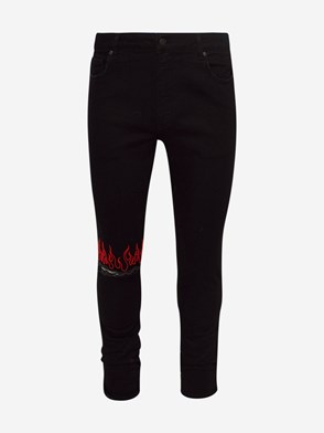 VISION OF SUPER - RED AND BLACK FLAME JEANS